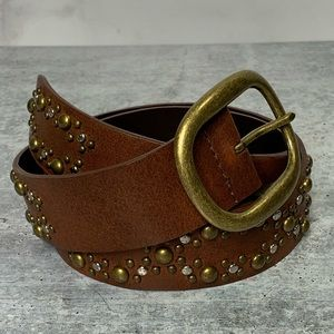 Belt Leather Brown Silver & Brass Studs 33""